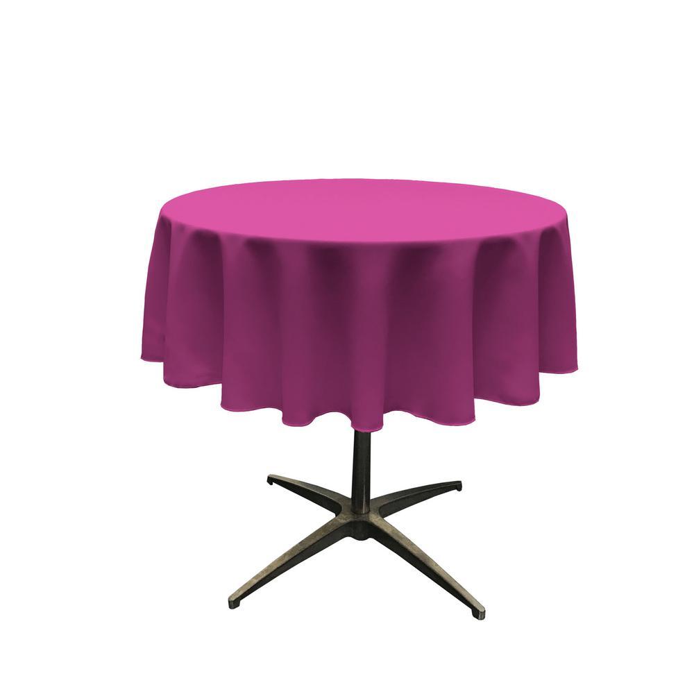 51 in. Round Magenta Polyester Poplin Tablecloth
