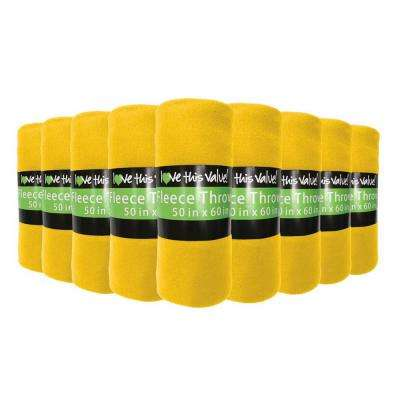 50 in. x 60 in. Yellow Super Soft Fleece Throw Blanket (12-Pack)