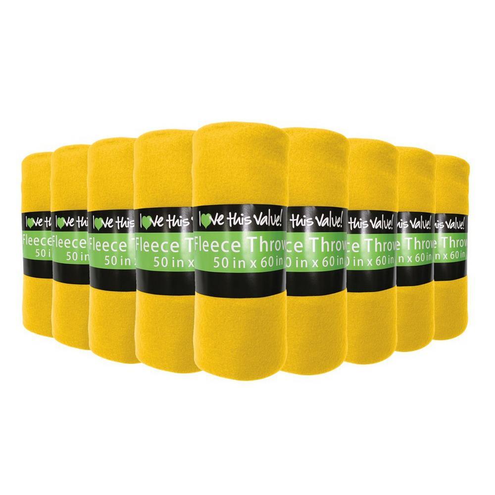 50 in. x 60 in. Yellow Super Soft Fleece Throw Blanket (12-Pack)