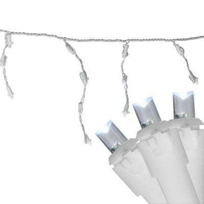 6.75 ft. 100-Light Pure White LED Wide Angle Icicle Lights