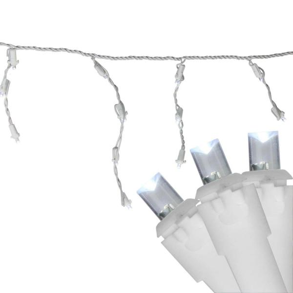 6.75 ft. 100-Light Pure White LED Wide Angle Icicle Lights