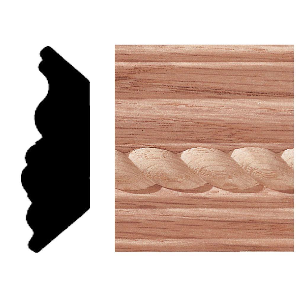 3/4 in. x 2-1/4 in. x 8 ft. Oak Rope Insert Crown Moulding