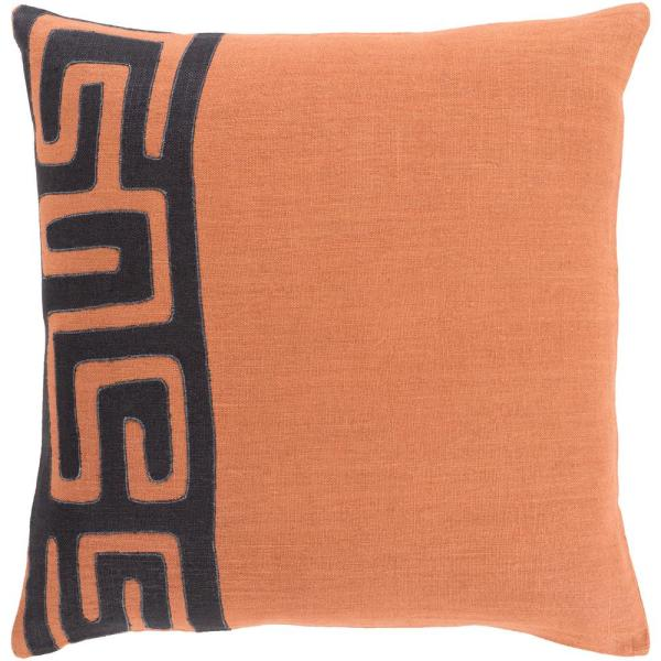 Lonsdale Bright Orange Geometric Polyester 18 in. x 18 in. Throw Pillow