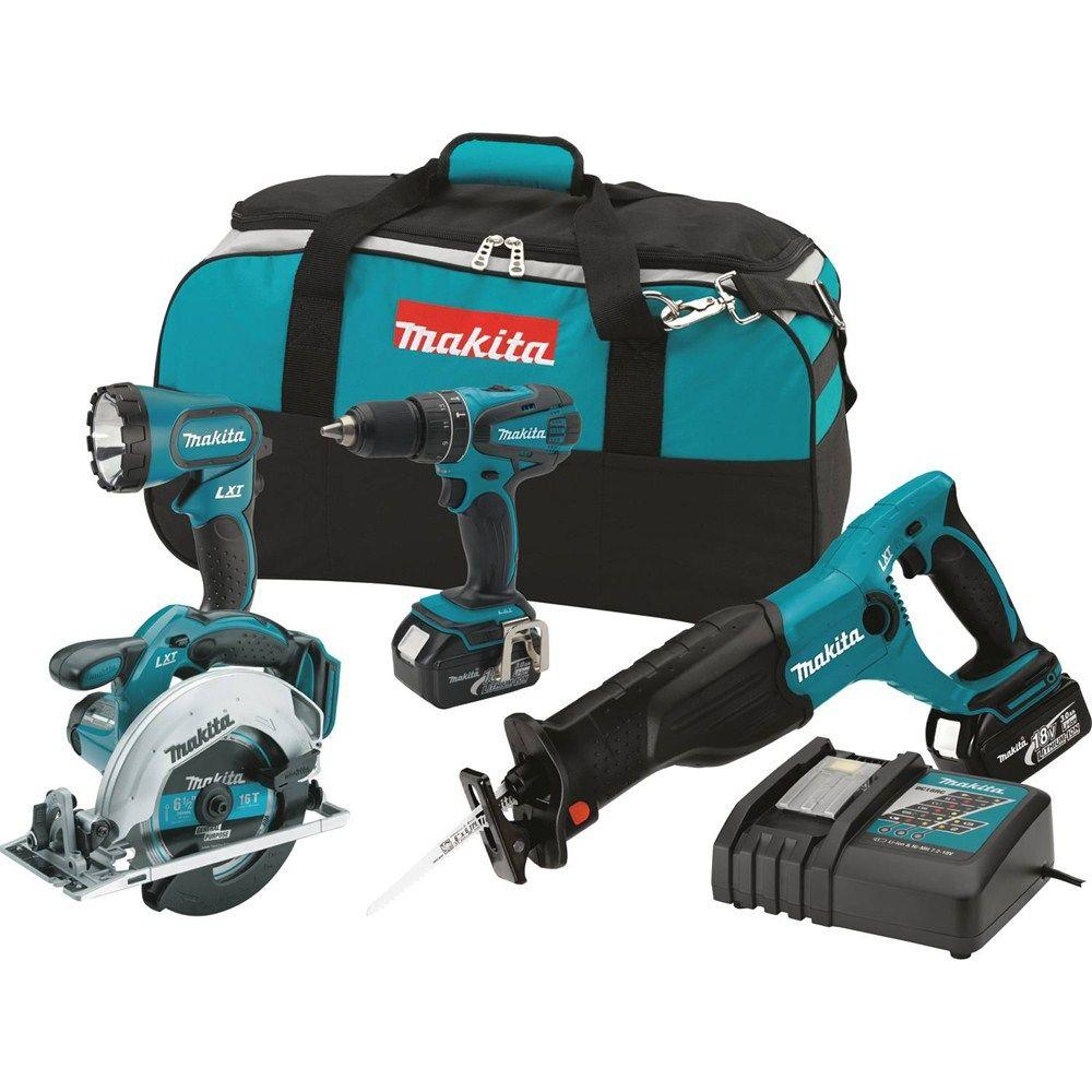 Makita 18-Volt LXT Lithium-Ion Cordless Combo Kit (4-Piece) with Circ Saw, Hammer Drill, Recip Saw, Light, (2) 3.0Ah Batteries
