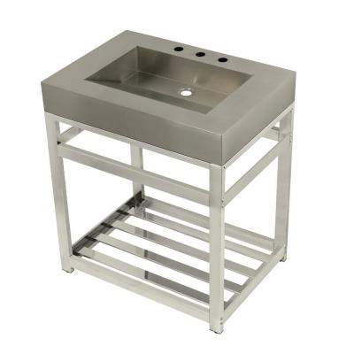 31 in. W Bath Vanity in Polished Nickel with Stainless Steel Vanity Top in Silver with Silver Basin