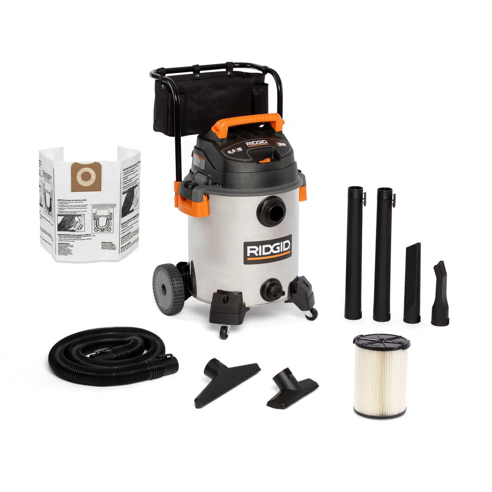 RIDGID 16 Gal. 6.5-Peak HP Stainless Steel Wet/Dry Shop Vacuum with Filter, Hose and Accessories