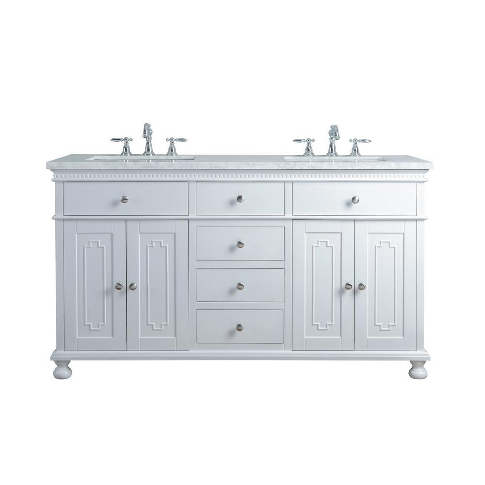 Stufurhome 60 In Abigail Embellished Double Sink Bathroom Vanity In