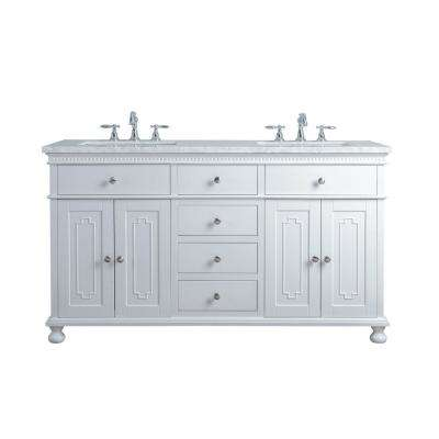 60 in. Abigail Embellished Double Sink Bathroom Vanity in White with Vanity Top in White with White Basin
