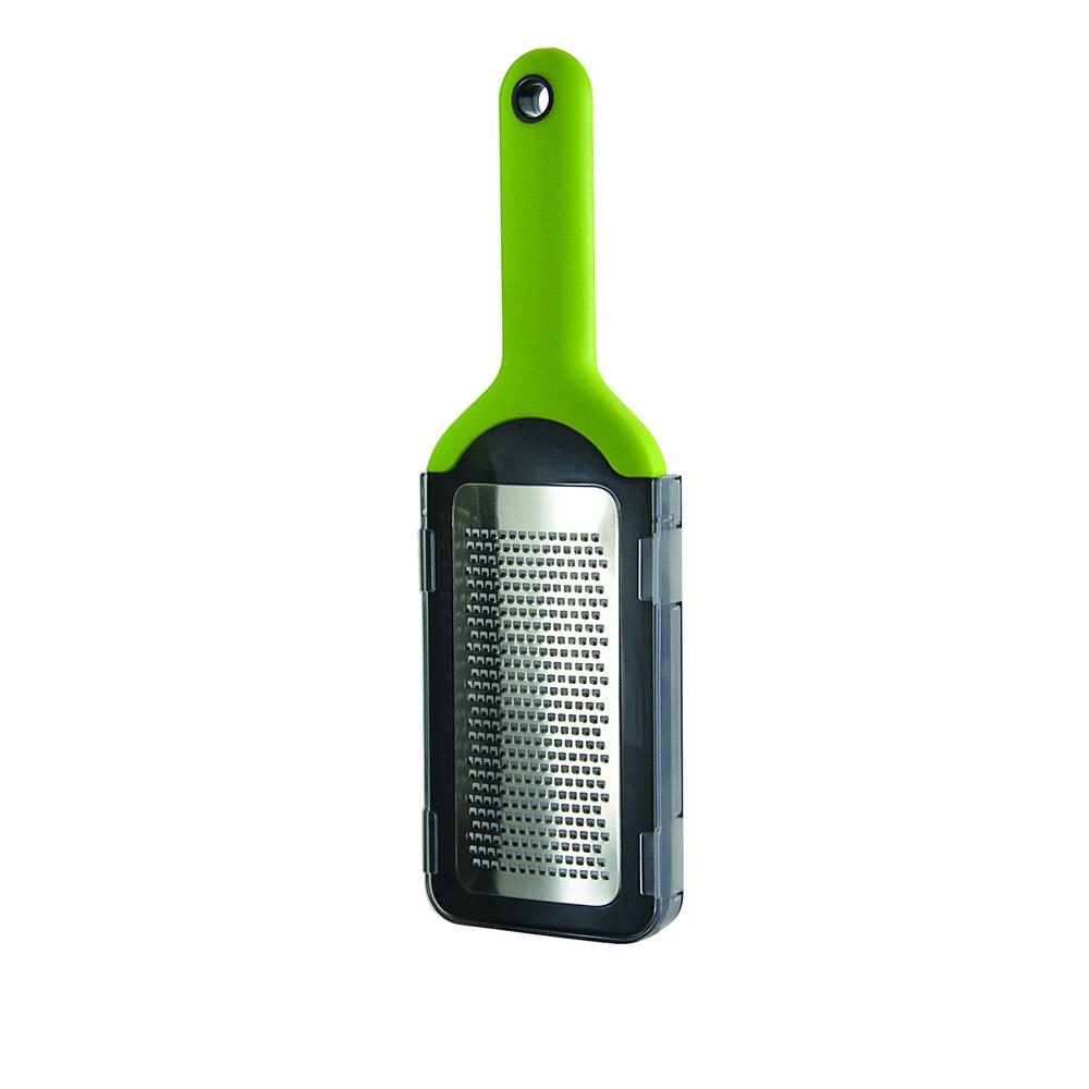Fine Grater with Comfort Grip Handles and Safety Cover Storage Lid