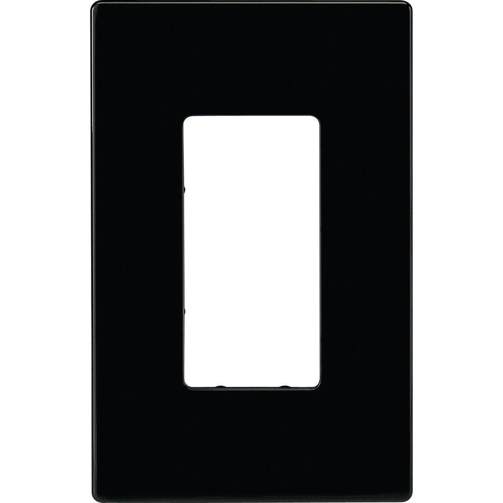 Eaton 1-Gang Screwless Decorator Polycarbonate Wall Plate, Black