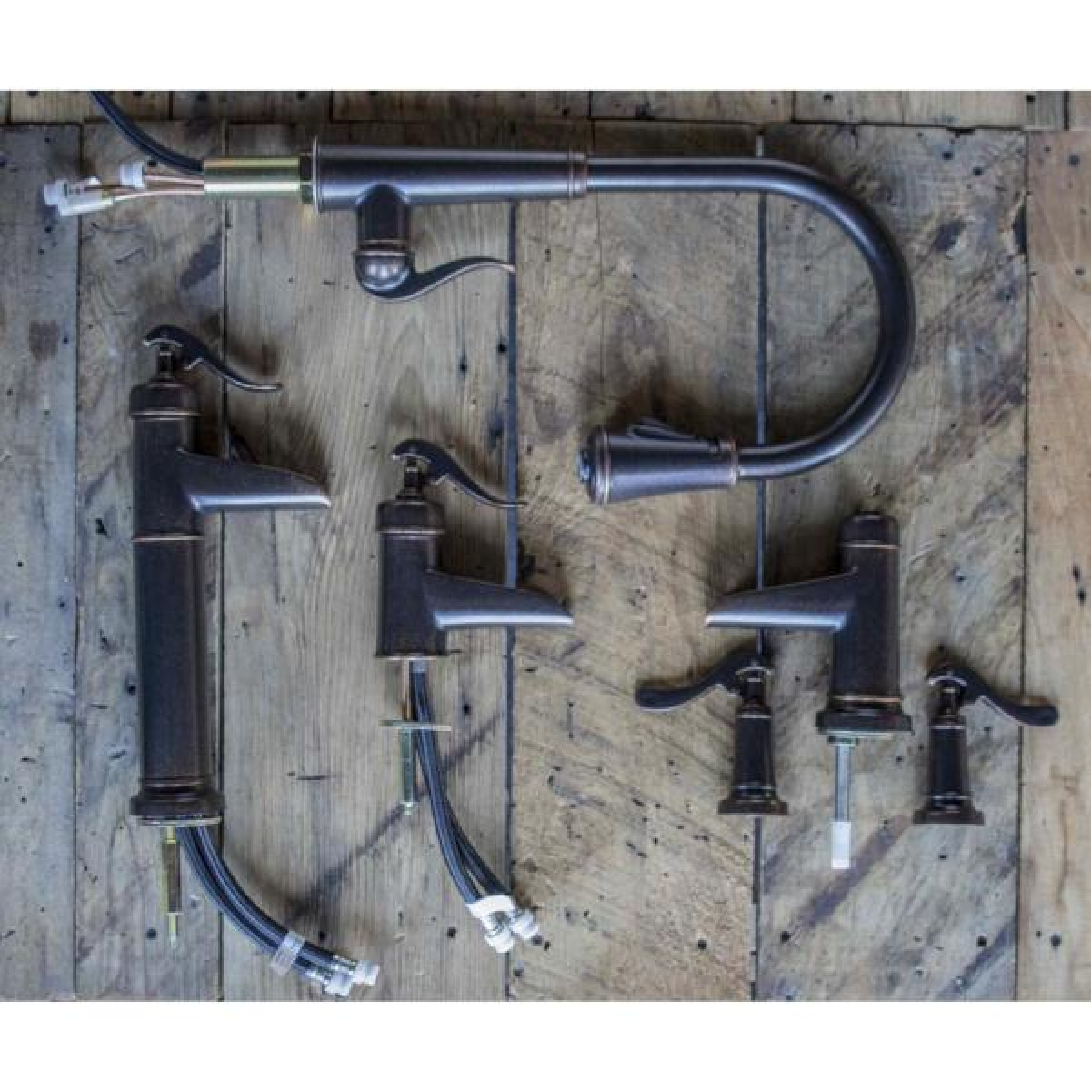 Sinkology BRD-1405BC-F042-AMZ Newton Undermount or Drop Bath Sink Pfister Ashfield Faucet and Drain Bathroom All-in-One Kit Aged Copper