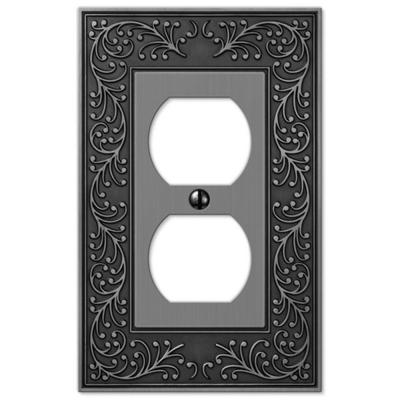 English Garden 1 Gang Duplex Metal Wall Plate - Antique Nickel