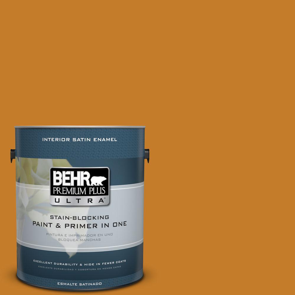 BEHR Premium Plus Ultra 1-gal. #S-H-290 Exotic Honey Satin Enamel Interior Paint