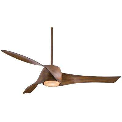Artemis 58 in. Integrated LED Indoor Distressed Koa Ceiling Fan with Light with Wall Control