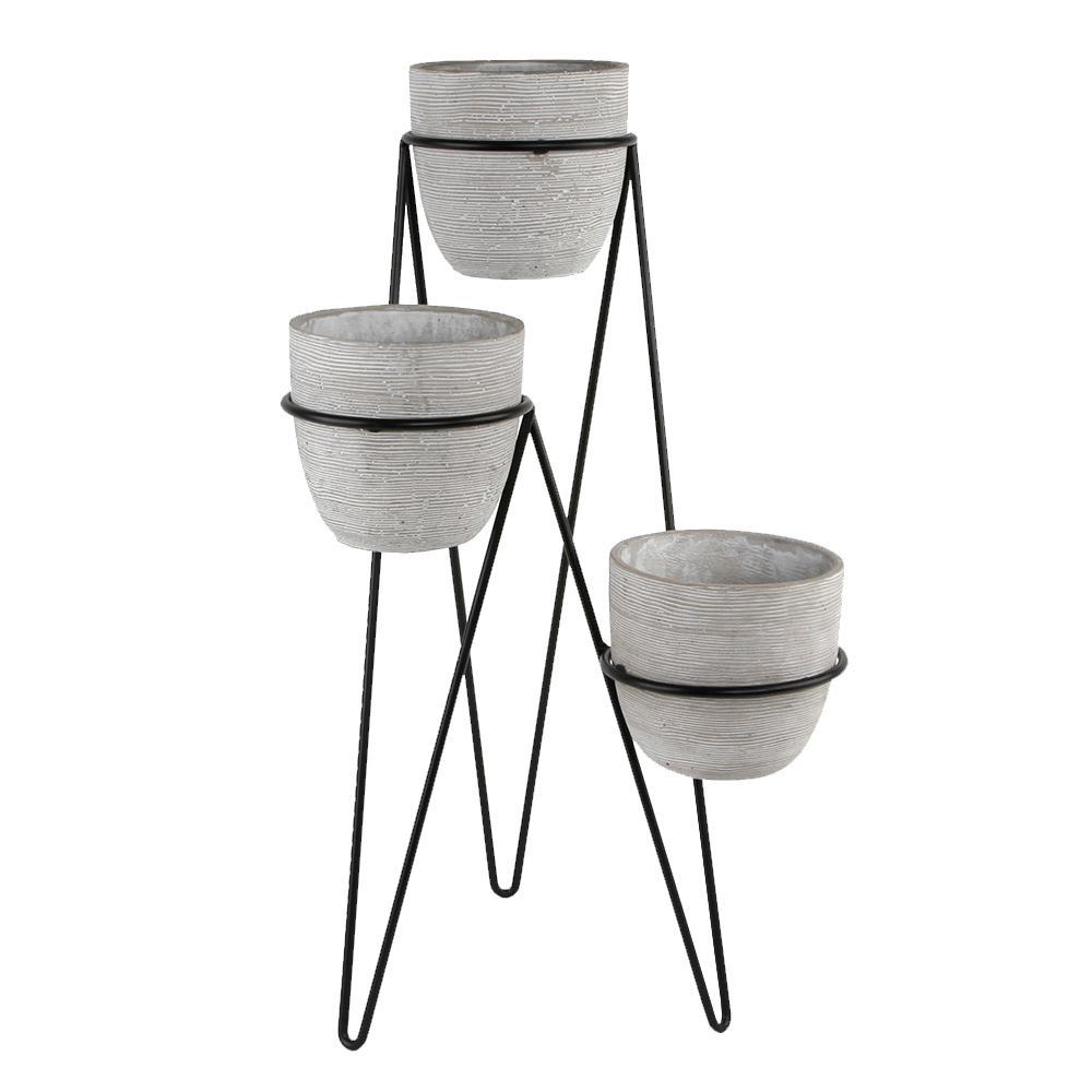 26 in. H 6 in. Gray Concrete 3-Tier Lava Cement Plant Pot Sets