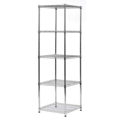 59 in. H x 18 in. W x 18 in. D 5-Shelves Wire Chrome Finish Commercial Shelving Unit