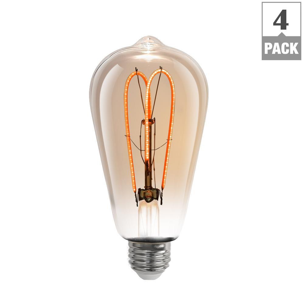 40W Equivalent Soft White (2000K) ST19 Dimmable M-Type Filament LED Vintage