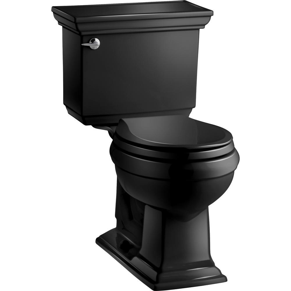 Memoirs Stately 2-piece 1.28 GPF Single Flush Round Toilet with AquaPiston Flushing Technology in Black