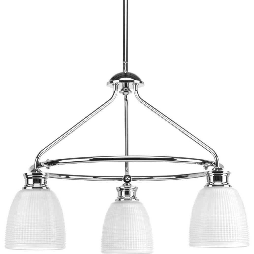 Progress lighting lucky collection 3 light polished chrome progress lighting lucky collection 3 light polished chrome chandelier with frosted prismatic glass arubaitofo Gallery