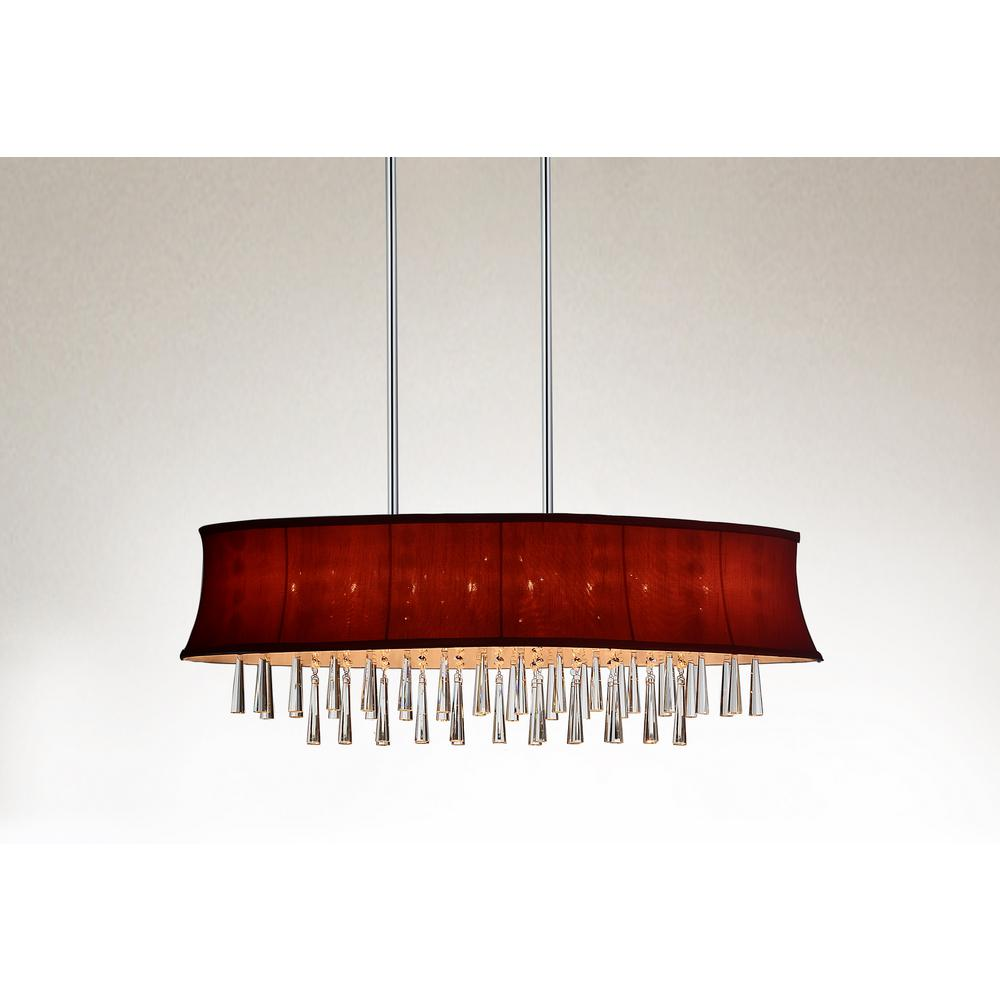 cwi lighting audrey 8 light chrome chandelier with rose red shade
