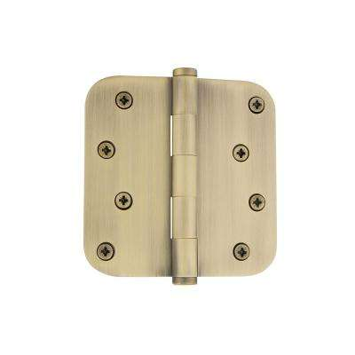 4 in. Button Tip Residential Hinge with 5/8 in. Radius Corners in Vintage Brass