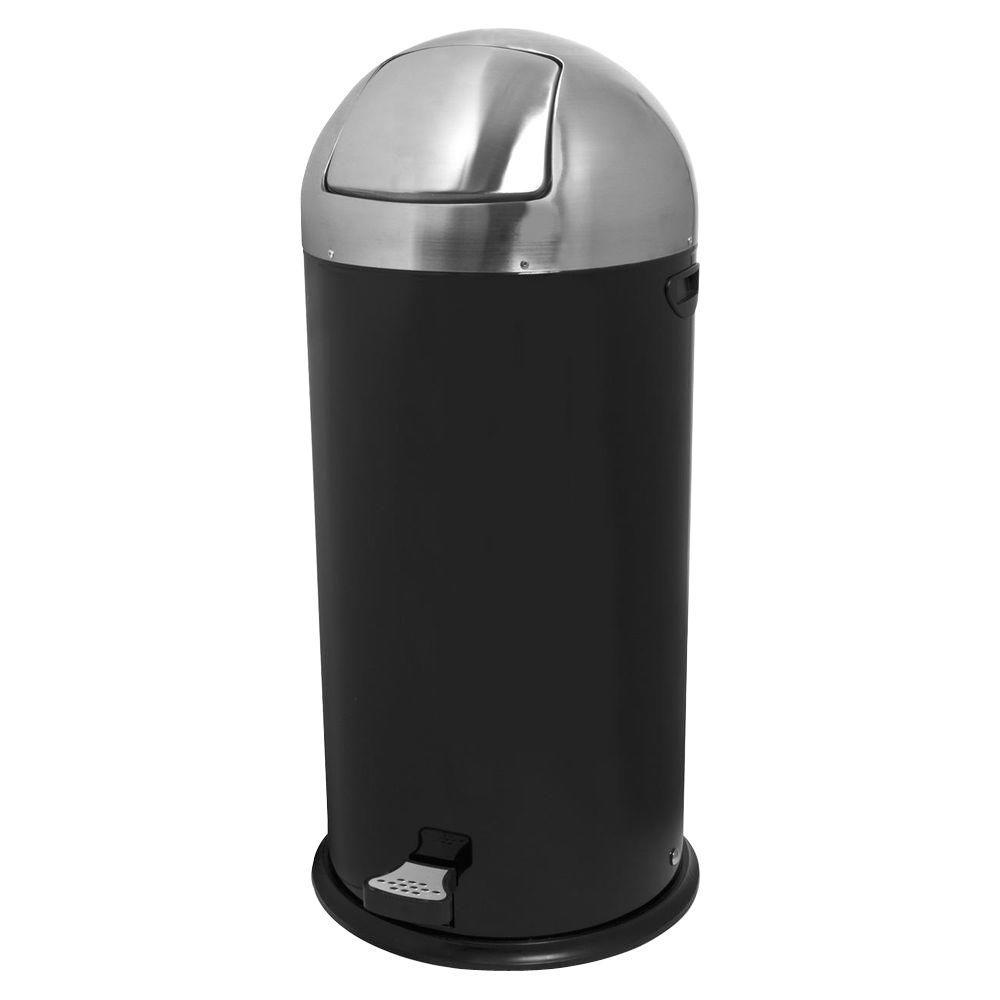 13.5 Gal. Black/Chrome Round Top Pedal Trash Can