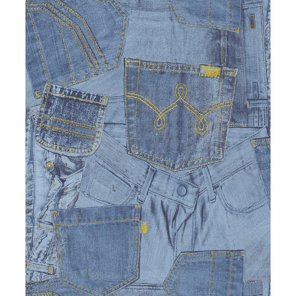 Inky Denim Jean Pocket Wallpaper Sample