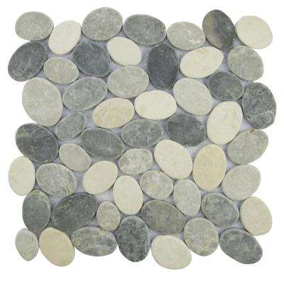 Pebble Tile Marble Mosaic White/Grey Blend 11.5 in. x 11.5 in. x 9.5mm Mesh-Mounted Mosaic Tile (10.098 sq. ft. / case)