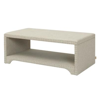 Annabelle Entryway Bench Nailhead Accents Wood Ash