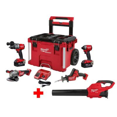 M18 FUEL 18-Volt Lithium-Ion Brushless Cordless Combo Kit (4-Tool) with M18 FUEL Blower and PACKOUT Rolling Tool Box