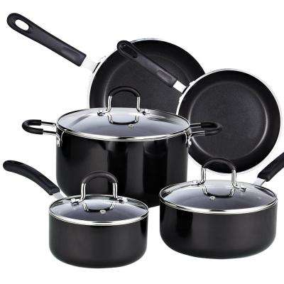 8-Piece Black Cookware Set with Lids