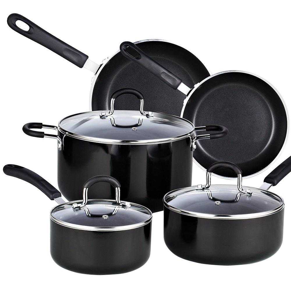 8-Piece Black Cookware Set with Lids