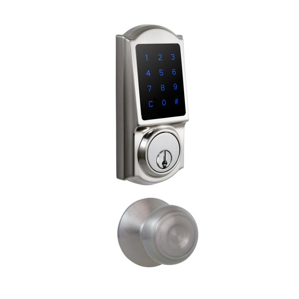 Castle Satin Nickel Touchscreen Electronic Deadbolt with Hartford Passage Knob