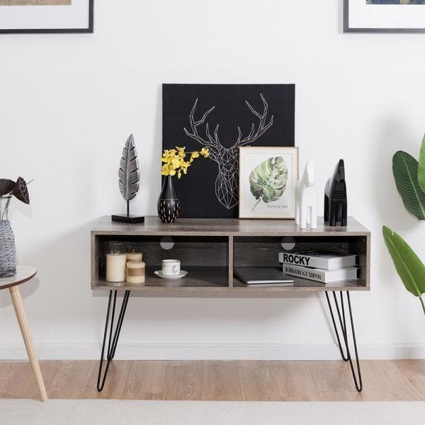 """42/"""" TV Stand Wood Media Console Entertainment Storage Shelf W//Metal Hairpin Legs"""