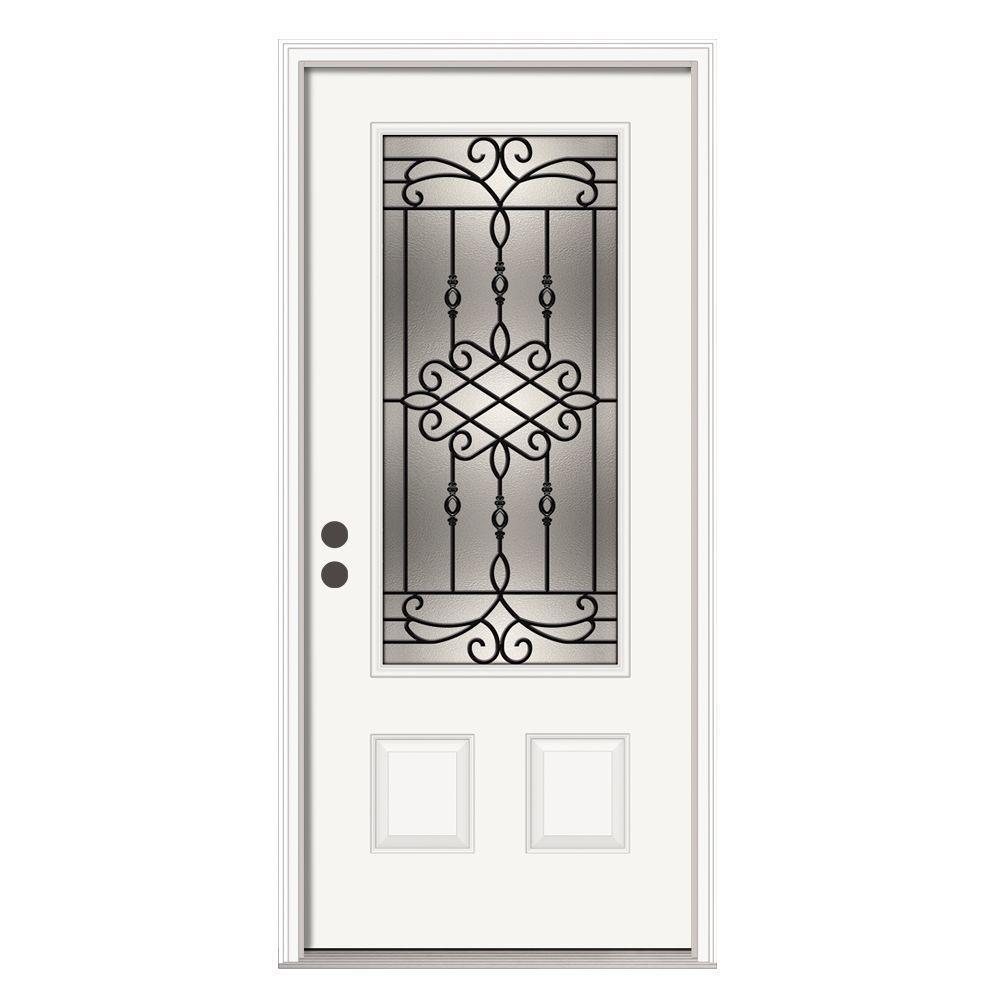 JELD-WEN 36 in. x 80 in. 3/4 Lite Sanibel Primed Steel Prehung Right-Hand Inswing Front Door w/Brickmould