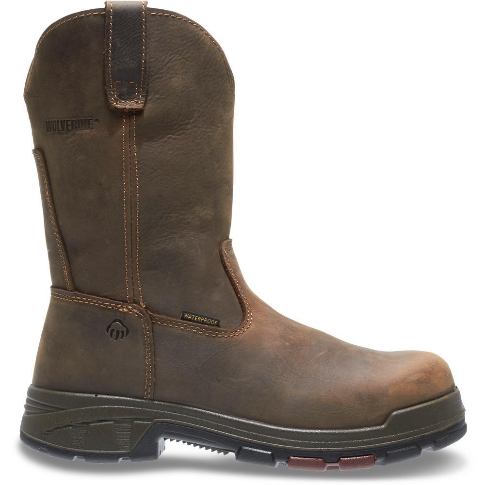 "Men's Cabor 12M Dark Brown Nubuck Leather Waterproof Composite Toe 10"" Wellington"