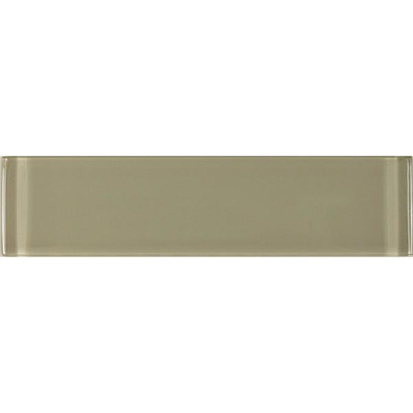 ABOLOS Subway 3'' x 12'' Rectangle Beige Taupe Glossy Glass Peel
