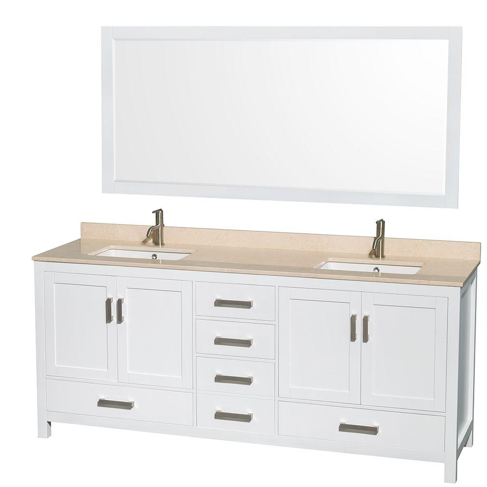 Wyndham Collection Sheffield 80 in. Double Vanity in White with Marble Vanity Top in Ivory and 70 in. Mirror