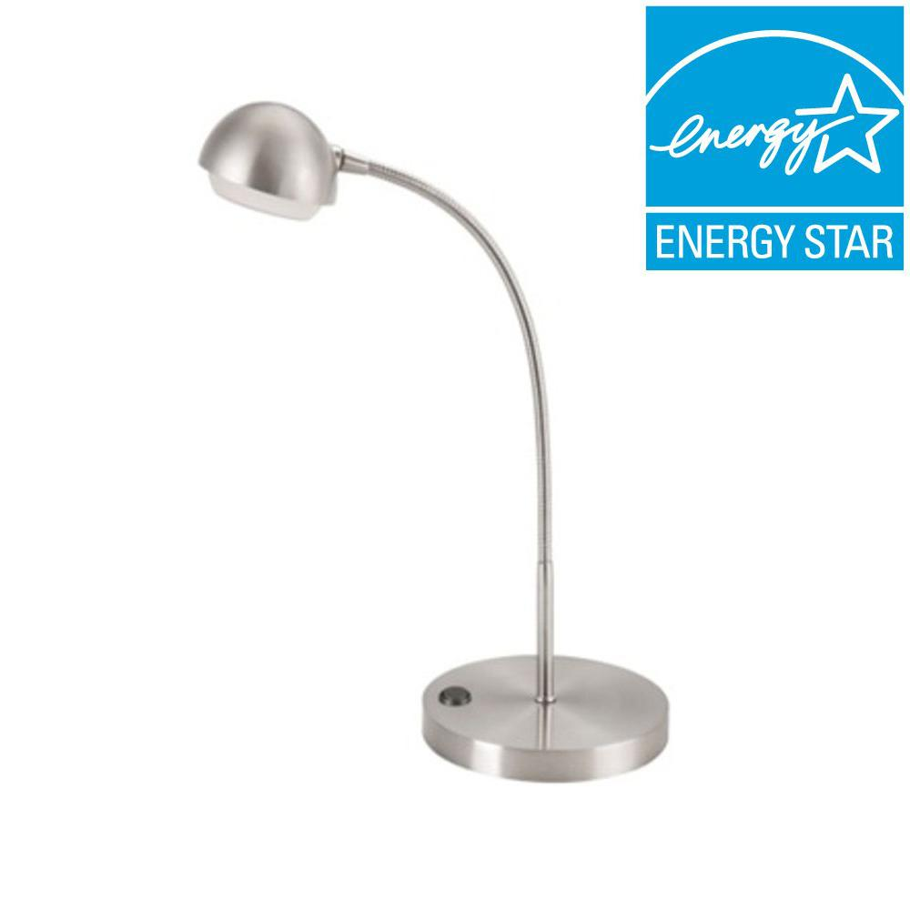 Hampton Bay 18 In Brushed Nickel Led Table Lamp 5a1600n