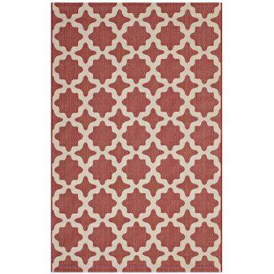Cerelia Moroccan Trellis 8 ft. x 10 ft. Indoor and Outdoor Area Rug in Red and Beige