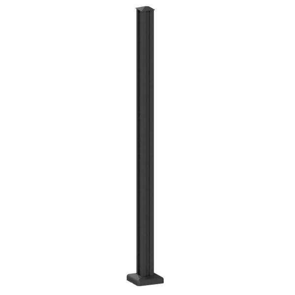 AquatinePLUS 2.38 in. x 2.38 in. x 4.20 ft. Black Aluminum Hard Surface Pool Fence Post