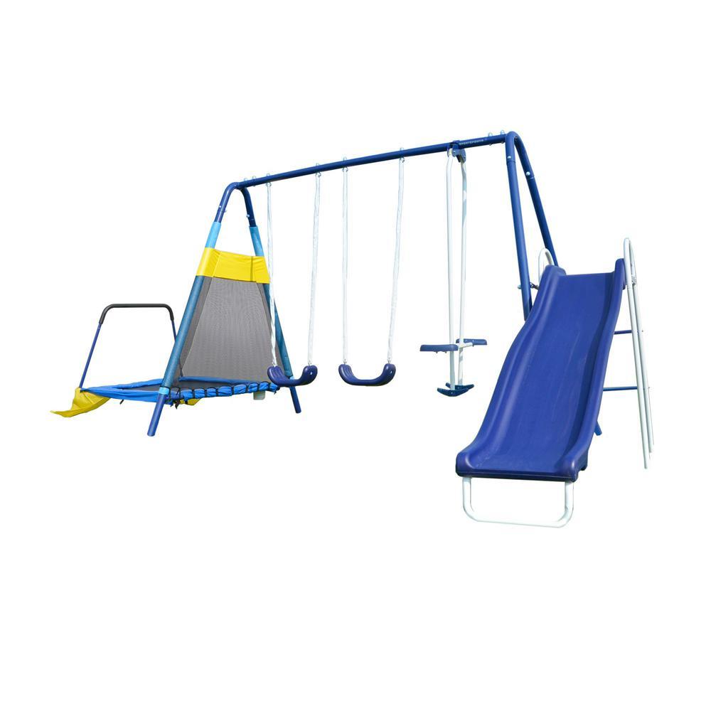 Sportspower Almansor Metal Swing Slide And Trampoline Set Msc 3242