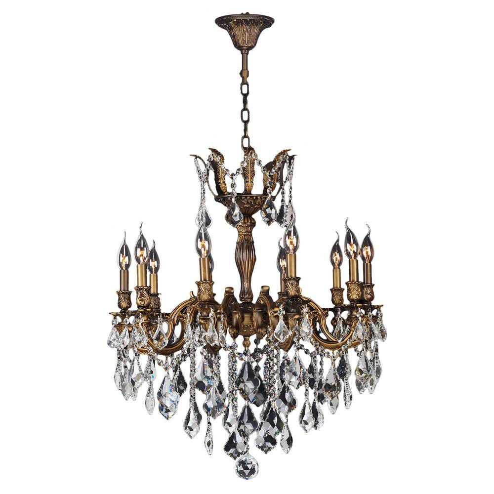 Worldwide Lighting Versailles 10-Light Antique Bronze Chandelier with Clear Crystal