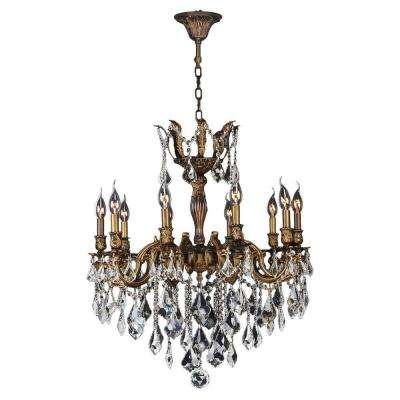 Versailles 10-Light Antique Bronze Chandelier with Clear Crystal