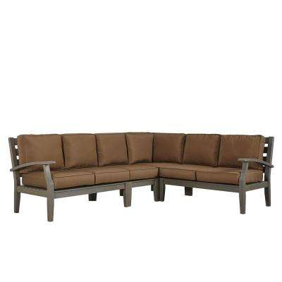 Verdon Gorge Gray Oiled Wood Outdoor Sofa with Brown Cushions (3-Piece)