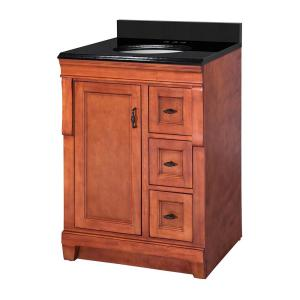 Naples 25 in. W x 22 in. D Bath Vanity in Warm Cinnamon with Granite Vanity Top in Midnight Black with Oval White Basin