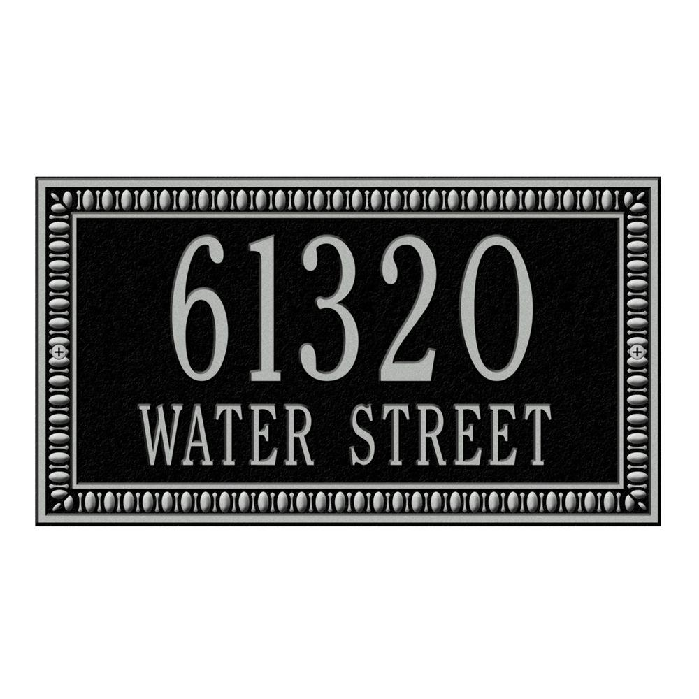 Egg and Dart Rectangular Black/Silver Standard Wall Two Line Address Plaque
