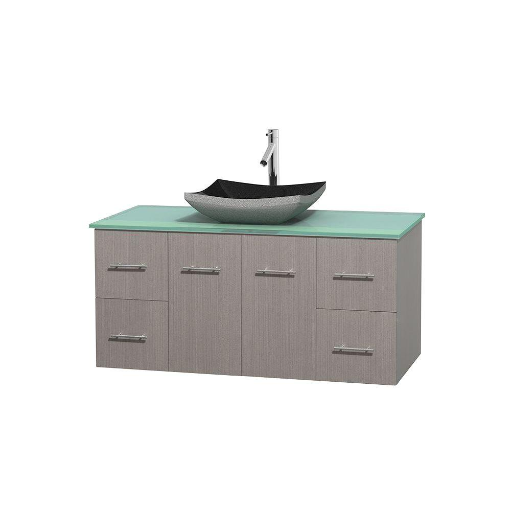 Wyndham Collection Centra 48 in. Vanity in Gray Oak with Glass Vanity Top in Green and Black Granite Sink