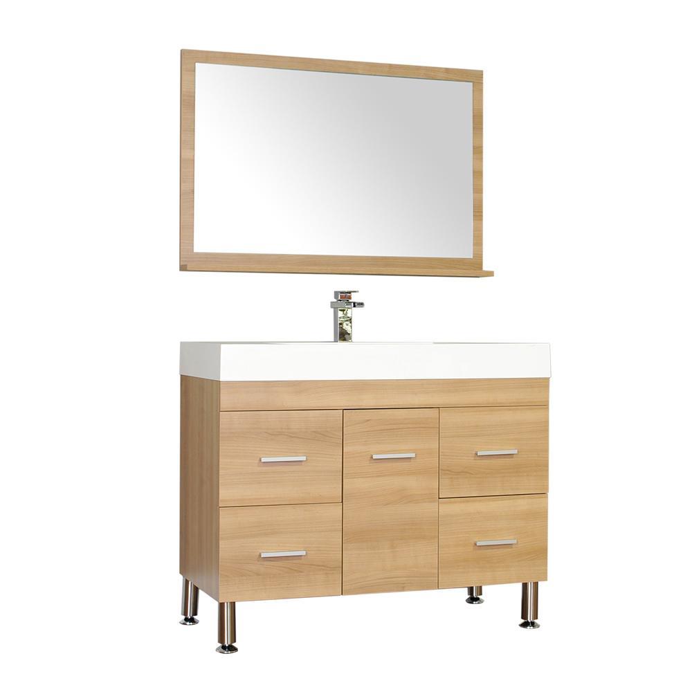 The Modern 39.25 in. W x 18.75 in. D Bath Vanity in Light Oak w/ Acrylic Vanity Top in White w/ White Basin and Mirror
