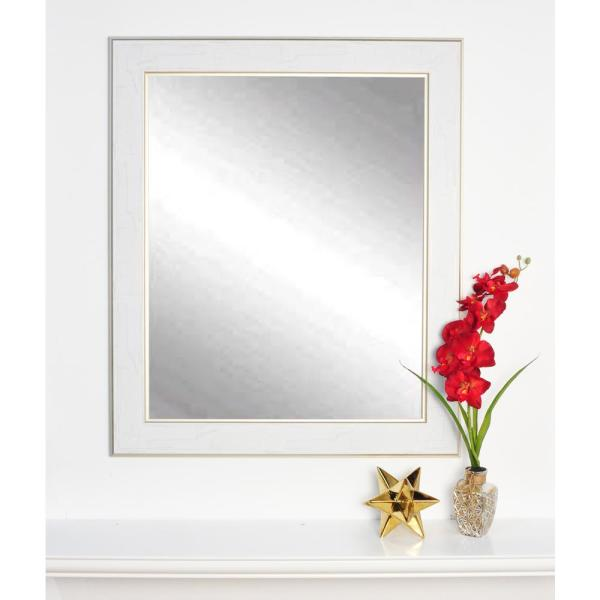 BrandtWorks Antique Chic Aged White and Gold Decorative Framed Wall Mirror